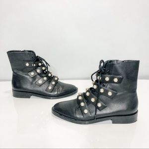 🦋🌙 ZARA | Black Lace Up Pearl Combat Boots